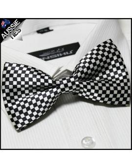 White & Black Check Bow Tie
