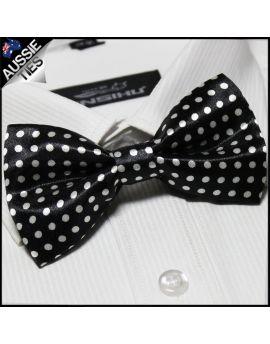 Black with Medium White Polkadots Bow Tie
