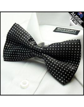 Black with White Polkadots Bow Tie