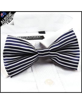 Blue and White Stripes Bow Tie