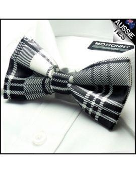 Black & White Tartan Bow Tie