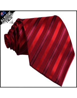 Scarlet with Cherry Red and Black Stripes Tie