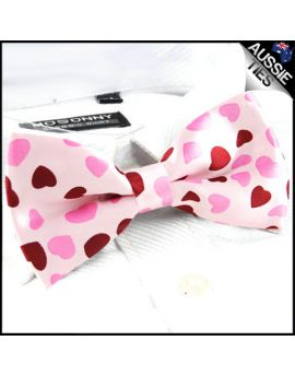 Light Pink Love Hearts Bow Tie