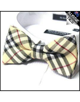 Camel Thomson Tartan Bow Tie