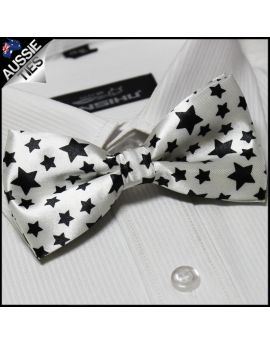 White with Black Stars Bow Tie