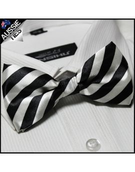 White and Black Stripes Bow Tie