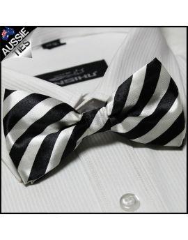 White and Black Stripes Bow Tie