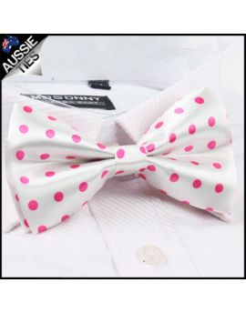 White with Pink Polkadots Bow Tie