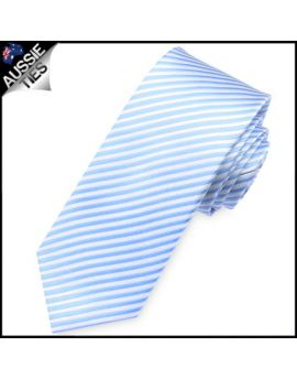 Sky Blue & White Thin Stripes Mens Necktie