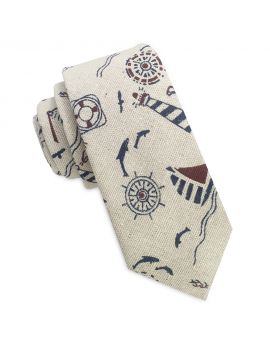 beige with butterflies pattern skinny tie