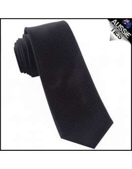 Black on Black Thin Stripes Mens Necktie