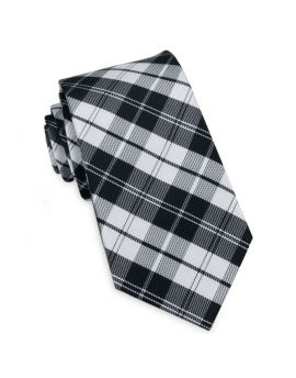 Black & White Plaid Slim Tie