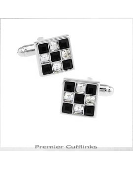 Black and Crystal Checker Board Cufflinks