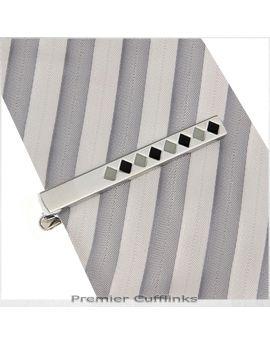 Silver with Grey & Black Diamonds Tie Clip