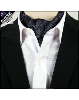 Men's Black & Dark Silver Paisley Ascot Cravat