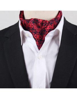 Men's Black & Red Filigree Ascot Cravat