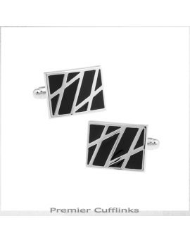Black and Silver Diagonal Lines Cufflinks