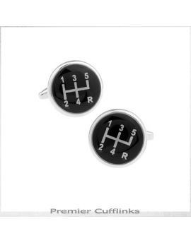 Black & Silver Gear Stick Cufflinks