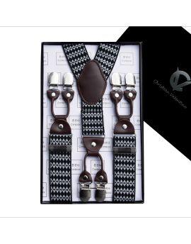 Black & White Diamonds Leather Attachment Large Braces Y3.5cm