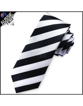 White & Black Mens Skinny Tie
