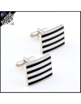 Mens Black & White Stripes Cufflinks