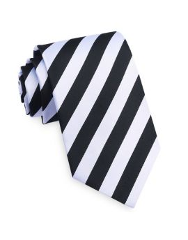 Black and White Stripes Mens Necktie