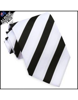 Black, White & Ivory Stripes Mens Tie