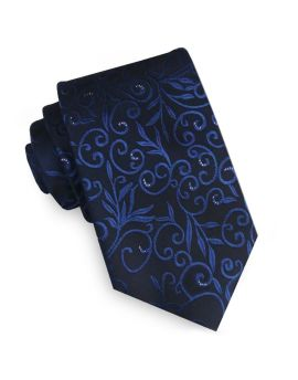 Black & Blue Floral with Highlights Mens Tie