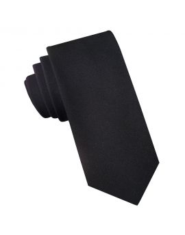 Black Cotton Blend Skinny Tie