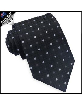 Black Diamond Texture with Polka Dots Mens Tie