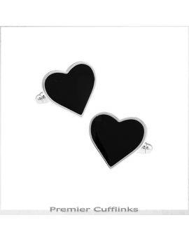 Black Love Heart Cufflinks