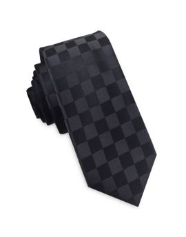 Black on Black Check Skinny Tie