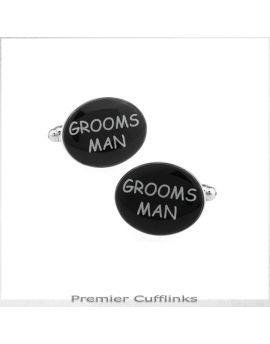 Black Oval Groomsman Cufflinks