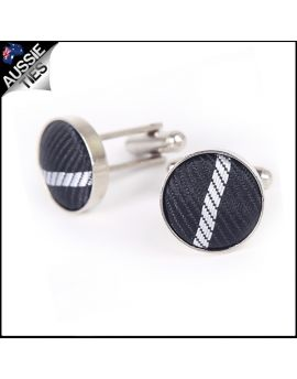 Mens Black Plaid Cufflinks