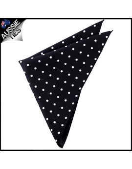 Black Polka Dot Pocket Square Handkerchief