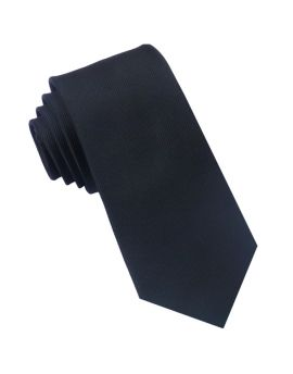 Black Ribbed 6cm Mens Slim Tie