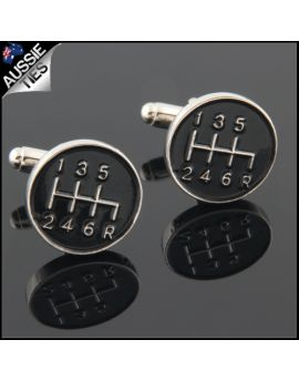 Mens Black Sports Gear Stick Cufflinks