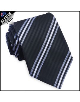Black, White & Grey Narrow Stripes Mens Tie