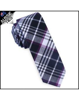 Black, White & Purple Tartan Plaid Skinny Tie