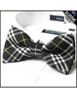 Black White & Gold Tartan Bow Tie
