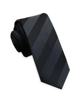Black with Black Stripes Skinny Tie