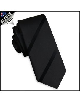 Black with Black Thin Stripes Skinny Tie