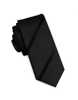 Black with Black Thin Stripes Skinny Tie