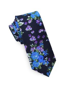 Black with Blue & Purple Floral Pattern Men's Skinny Tie