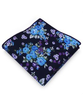 black with blue and purple floral pattern handkerchief pocket square