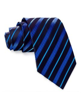 Black with Blue and Light Blue Stripes Mens Tie
