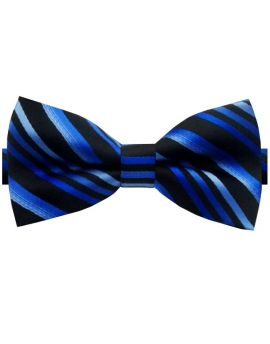 Black with Blue Diagonal Stripes Bow Tie