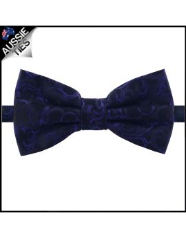 Black with Cadbury Purple Floral Pattern Bow Tie