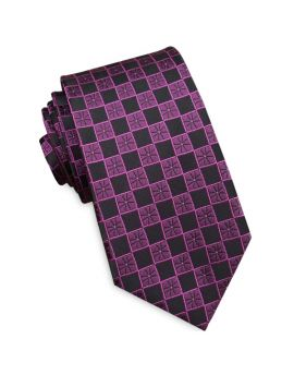 Black with Cracked Purple Checks Slim Tie