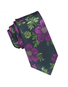 black with green and purple floral tie